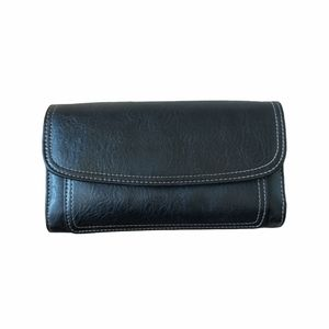 Relic bifold wallet black leather with check book